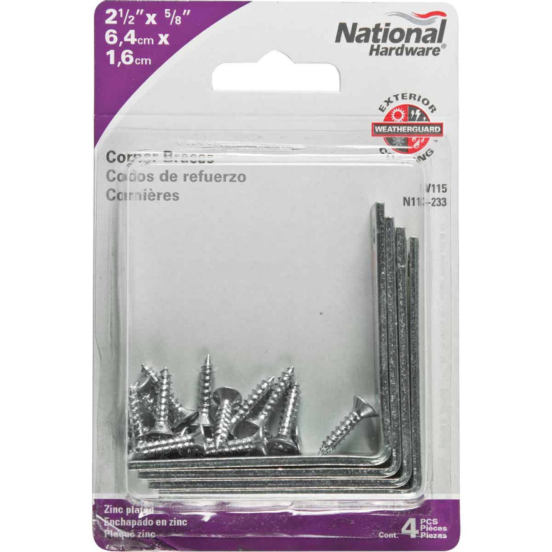 National Catalog V115 2-1/2 In. x 5/8 In. Zinc Steel Corner Brace (4-Count) Image 2
