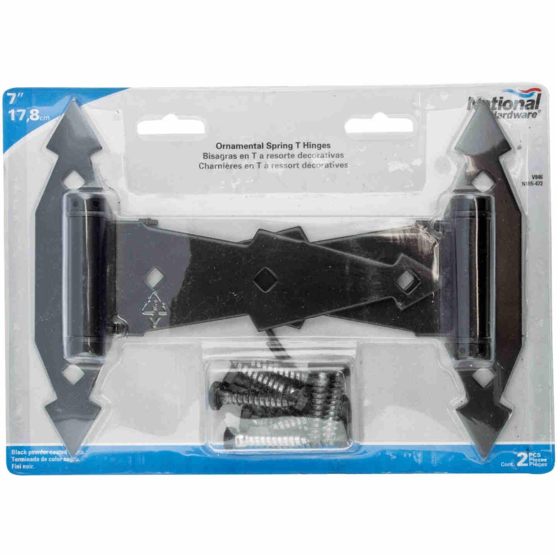 National 7 In. Black Ornamental Spring Tee Hinge (2-Pack) Image 2