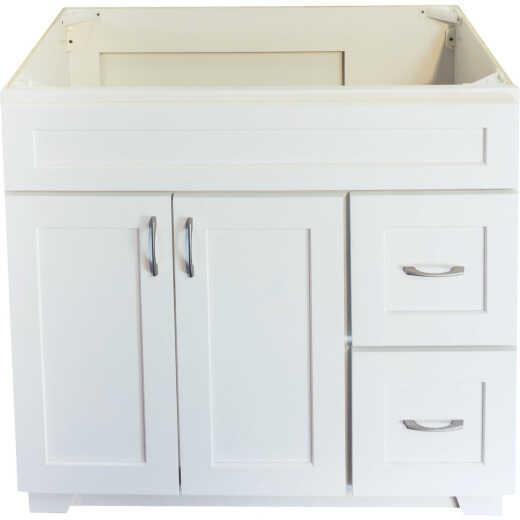 CraftMark Shaker Retreat White 36 In. W x 34 In. H x 21 In. D Vanity Base, 2 Door/2 Drawer