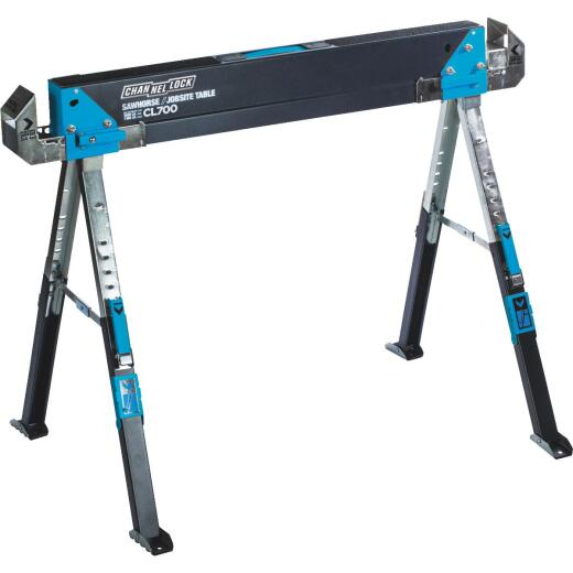 Channellock 39-1/4 to 45-3/4 In. Long Steel Adjustable Sawhorse Jobsite Table, 1300 Lb. Capacity
