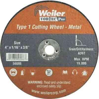 Weiler Vortec Type 1 4 In. x 1/16 In. x 3/8 In. Metal/Plastic Cut-Off Wheel