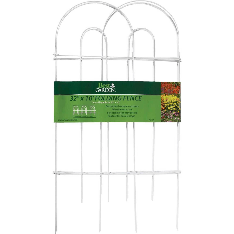 Best Garden 10 Ft. Powder-Coated White Wire Folding Fence Image 2